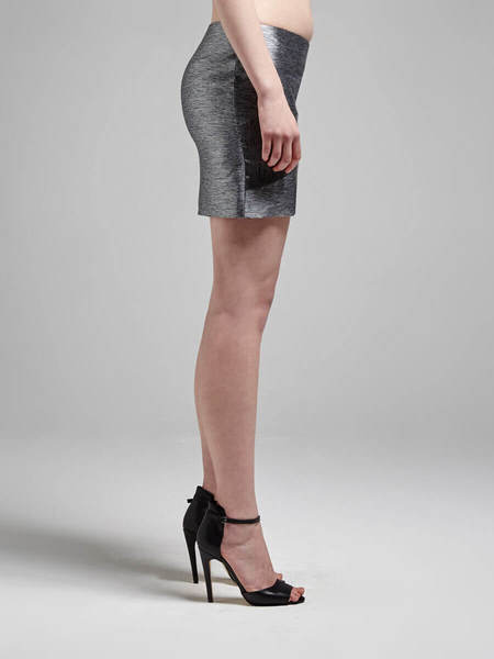 IRO Anabell Metallic Mini Skirt - Silver