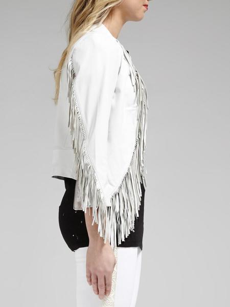 Rebecca Minkoff Ace Fringe Leather Jacket - White