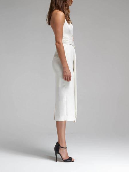 Nicholas The Label Nicholas Pinstripe Belted Waist Dress - Cream/Black