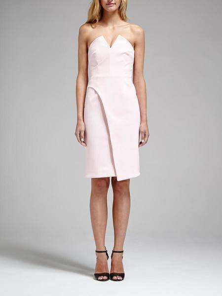 Nicholas The Label Nicholas Tech Bonded V Strapless Dress - Peony Pink