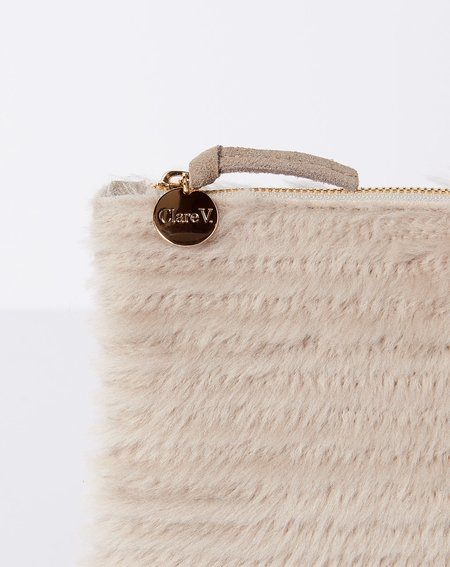 Clare V. Shearling Wallet Clutch - Taupe
