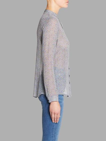 MiH Jeans Collarless Evelyn Shirt - Multicoloured Floral Print