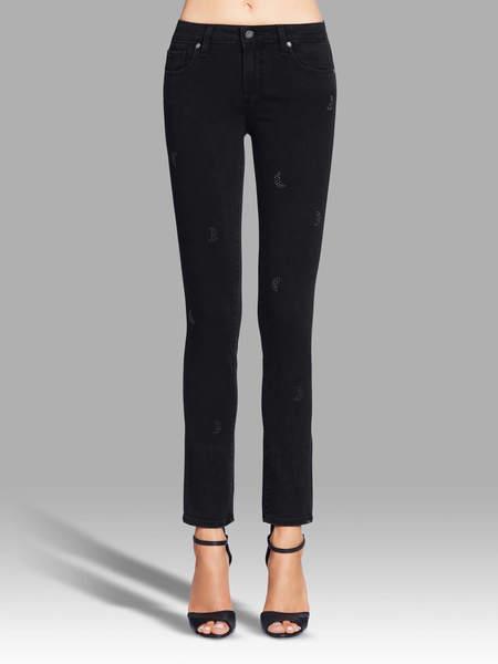Paige Skyline Ankle Peg Embellished Jean - Lunar Black