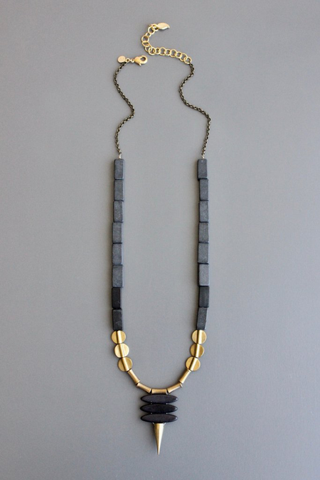 David Aubrey Inc River Stone Long Necklace