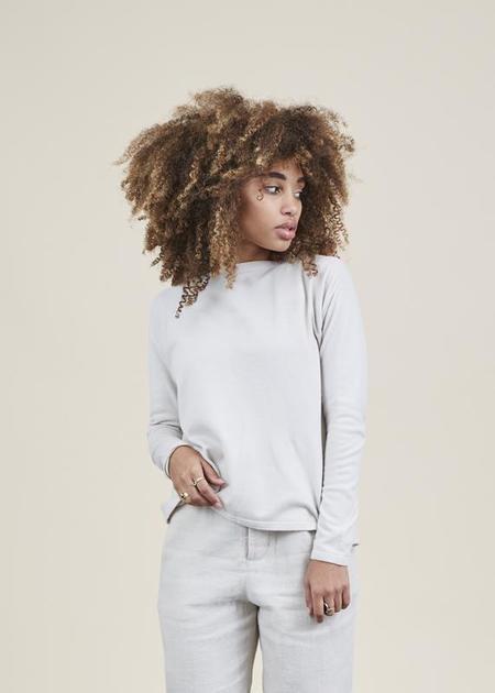 Evam Eva Band-Collar Knit Sweater - Antique White