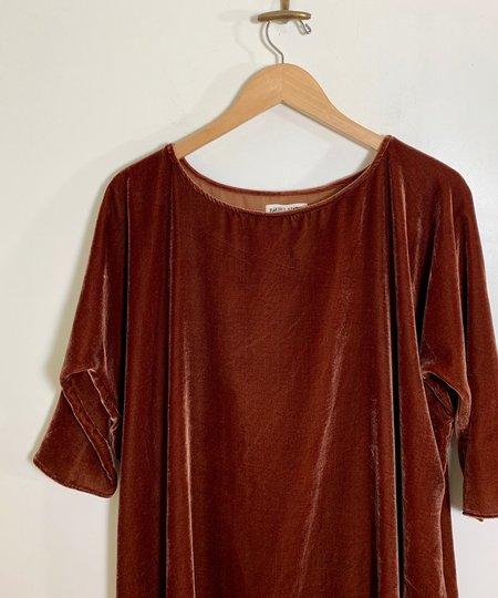 Rachel Craven SHORT VELVET COCOON DRESS - RUST