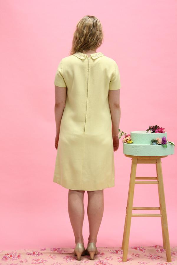 Steel Magnolias Vintage Pastel Yellow Beaded Collar Dress