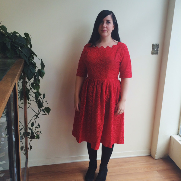 Steel Magnolias Vintage Red Lace Dress