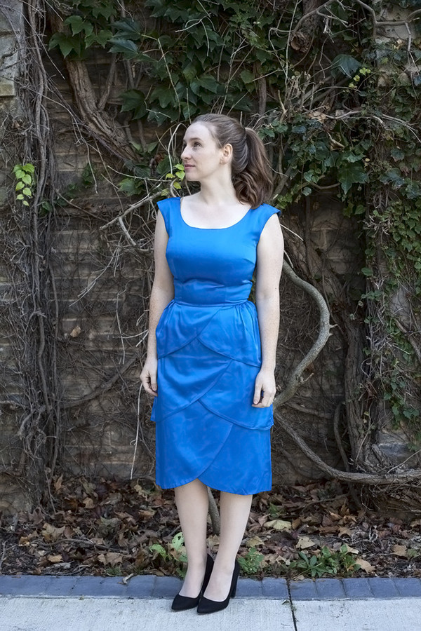 White Elephant Vintage Bright Blue Scalloped Dress