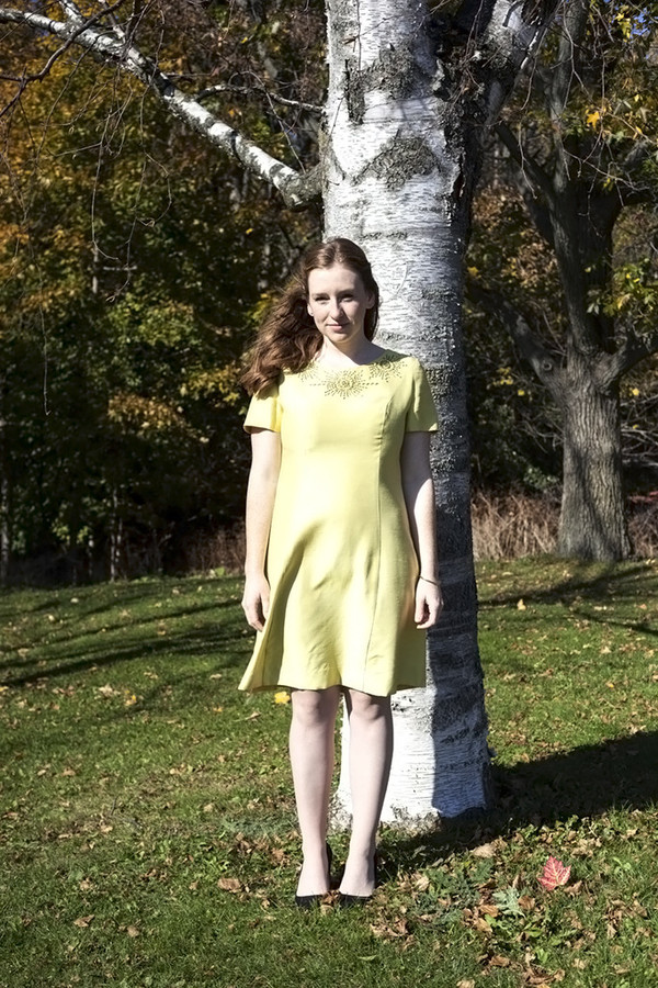 White Elephant Vintage Mod Yellow Sunburst Dress
