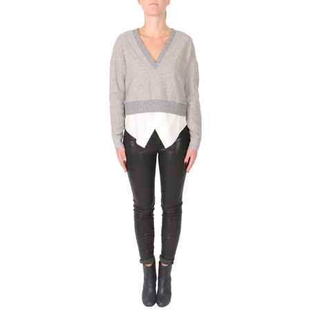 Derek Lam 10 Crosby 2-IN-1 SPECKLED V-NECK SWEATER TOP