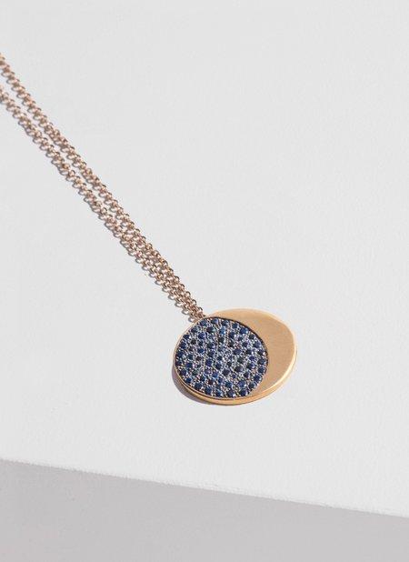 Fine Large Pavé Moon Phase Pendant - 18k Yellow Gold/Blue Sapphire