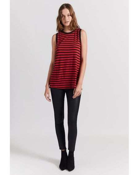 Current/ Elliott Easy Muscle Tank - Haute Red/ Charcoal Stripe Destroy