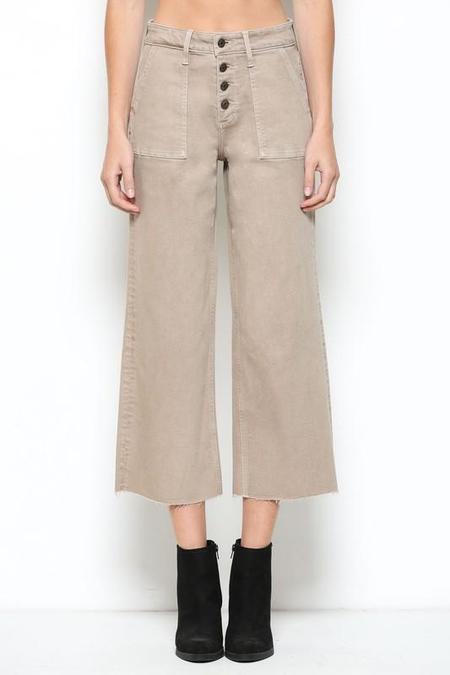 Hidden Denim Utility Cropped Wide Leg Jean - Khaki