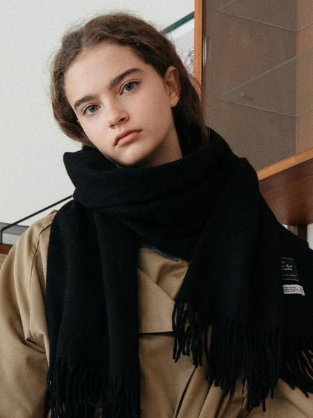 DEPOUND Cashmere Wool Blended Muffler - Black