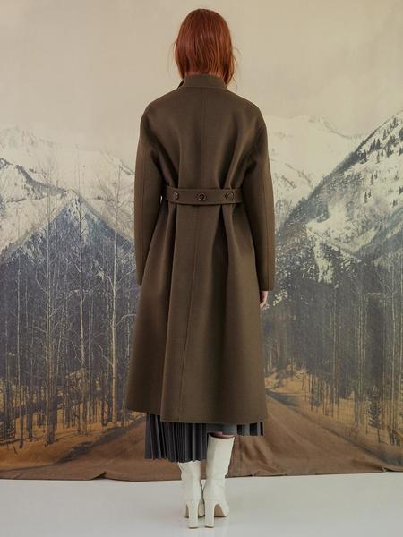 DYS High Neck Belted Handmade Wool Cashmere Forte Coat - Khaki