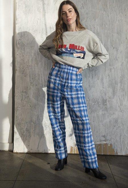 Ganni Charron Plaid Pants - Lapis Blue