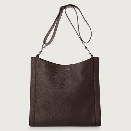 Orciani Iris Leather Crossbody Bag - Chocolate