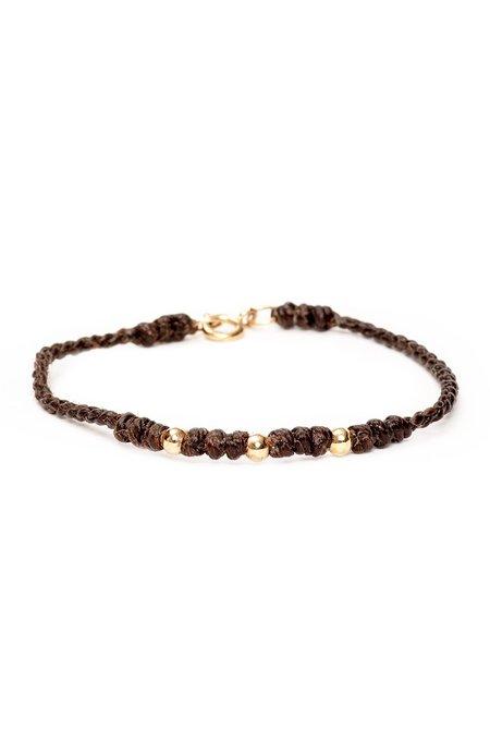 Caputo & Co Gold Bead Bracelet - Dark Brown