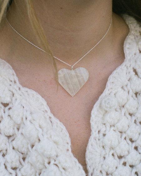Peso Heart Pendant Necklace - White Onyx