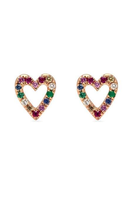 Shain Leyton 14K Gold Rainbow Sapphire Heart Stud Earrings
