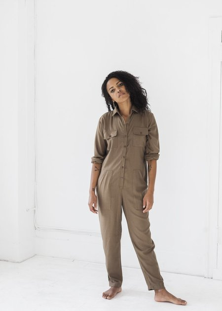 Ozma Long Sleeve Painter's Jumpsuit - Earth