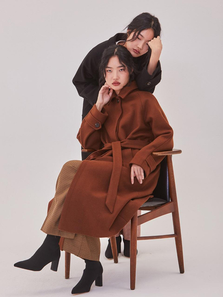 Ryul + Wai: Single Wool Long Coat - Camel