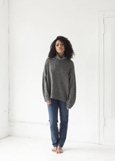 Wol Hide - Lace Sleeve Turtleneck - Charcoal