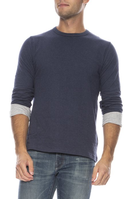 Hartford Double Face Knitted T-Shirt - NAVY STRIPES