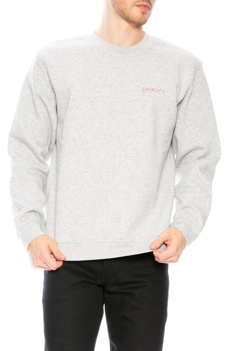 Unisex YEAH RIGHT NYC Equality Embroidered Crew Neck Sweatshirt - Grey/Dark Pink