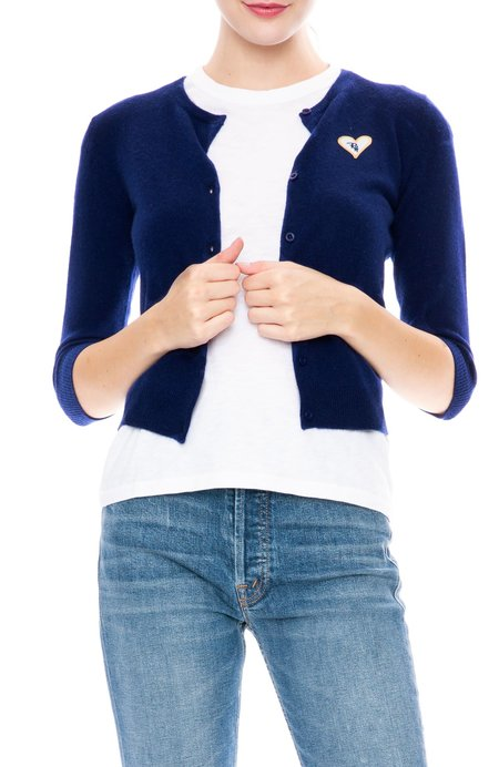 Ron Herman Heart Patch Cashmere Baby Cardigan