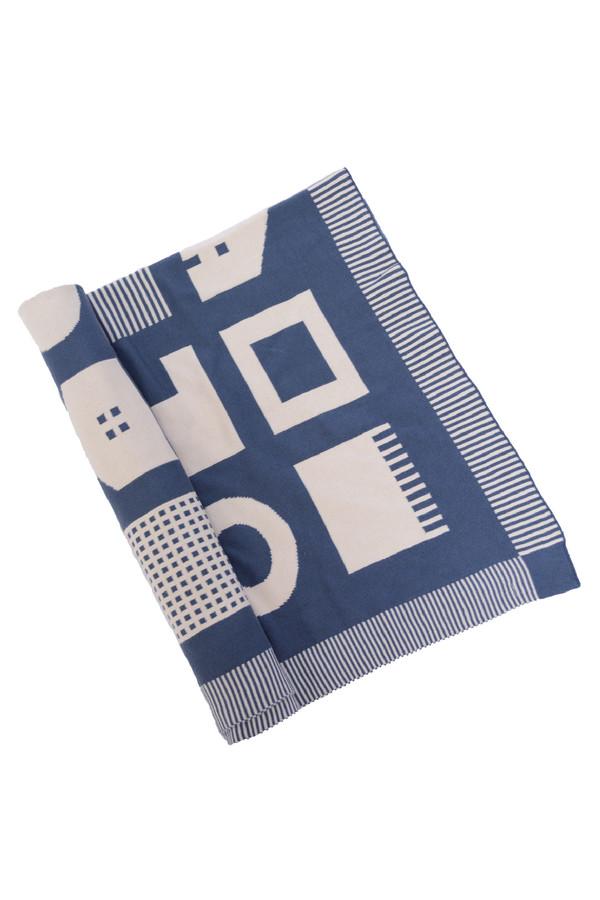 Micaela Greg Navy Box House Blanket