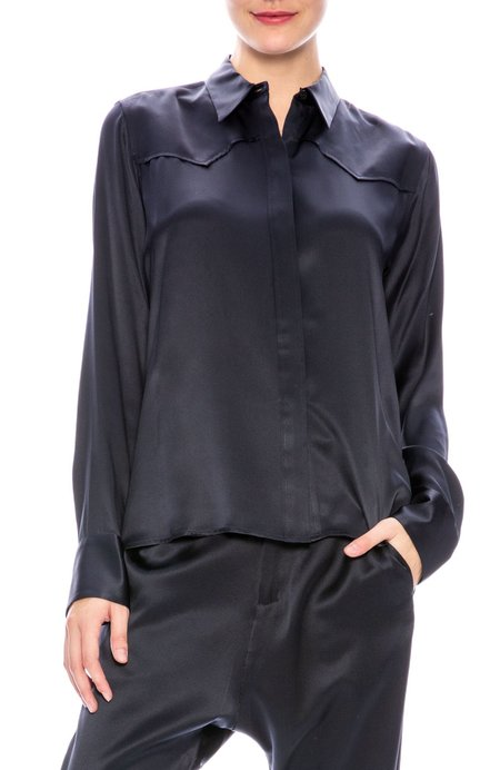 Nili Lotan Mica Silk Shirt - Dark Navy