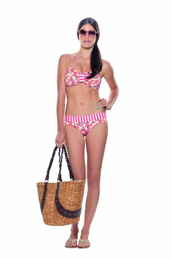 Estivo Stripes in Pink Two Piece with Aqua Outline BOTTOMS