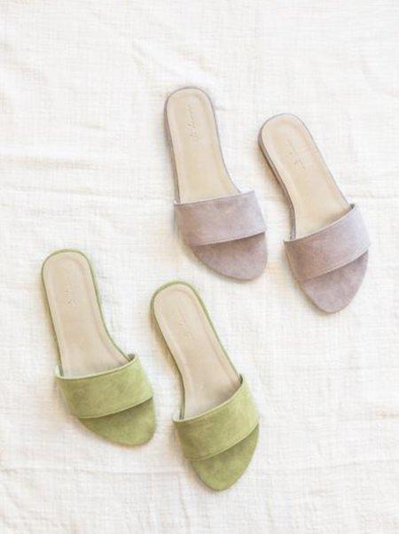 at Dawn. Suede Sandals
