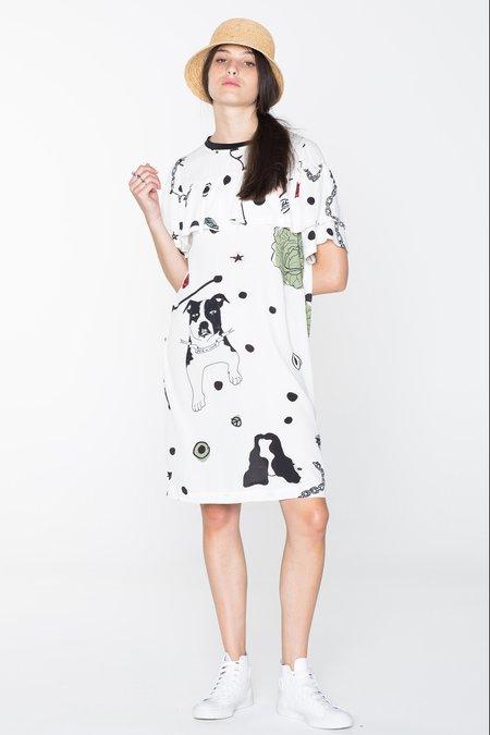 SALASAI CREATURES TEE DRESS - WHITE CHAIN N HOUND PRINT