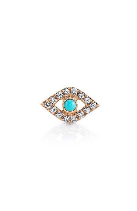 Sydney Evan Small Bezel Diamond and Turquoise Evil Eye Earring