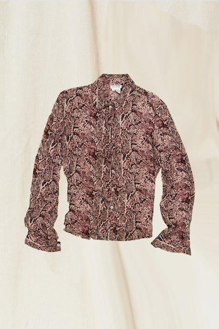 Vintage Silk Snakeskin Blouse - Pink