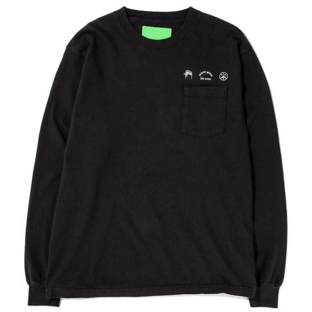 Mister Green Trifecta Heavyweight Long Sleeve Pocket T-shirt - Black