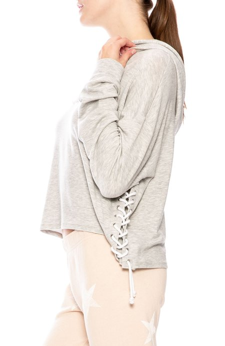 Generation Love Tessa Side Lace Up Hoodie - Grey
