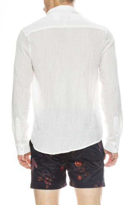 INSTED WE SMILE Textured Cotton Washed Shirt - White