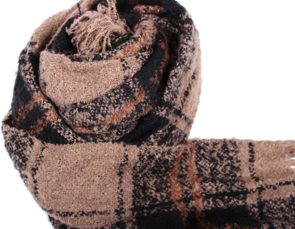 Michael Farrell Plaid Scarf in Brown