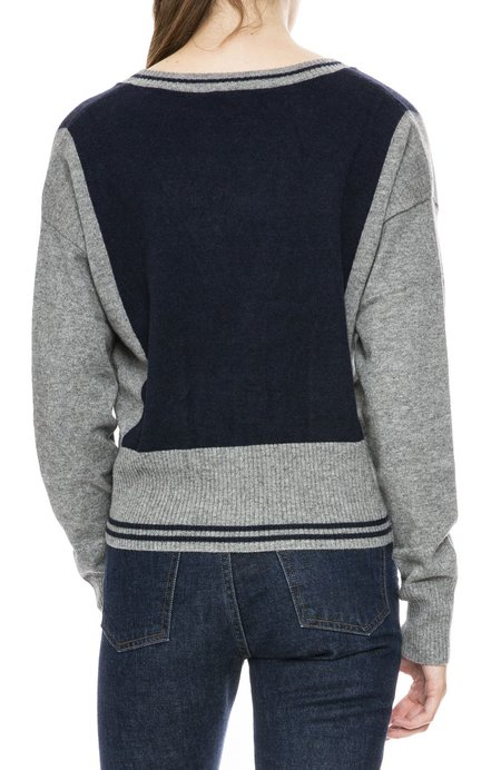 Autumn Cashmere Two Tone Cardigan - Cement/Navy