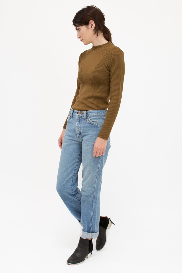 Micaela Greg Burnt Sienna Rib Turtleneck