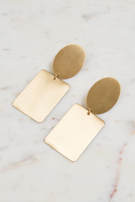 David Aubrey Inc Oval and Rectangle Earrings - Satin Brass