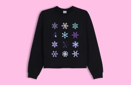 LB2 Studio Snowflakes Crop Sweater