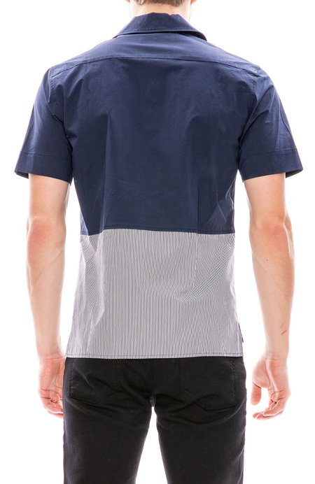 Tim Coppens Bowling Shirt with Bottom Stripes - Navy Stripe