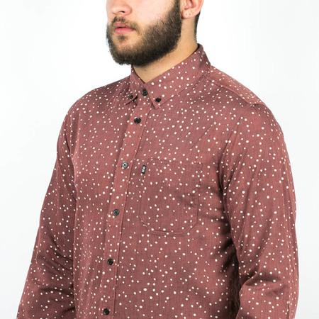 Men's Wolf & Man  Nami - OX blood speckled polka dot shirting