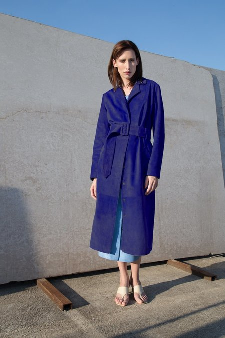 Jovana Markovic Suede Trench Coat - Blue