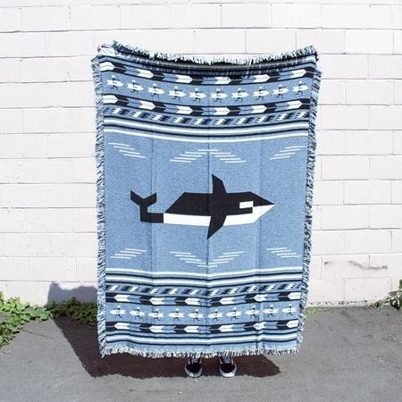 Forest & Waves Orca and Surfers Woven Blanket